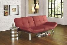 Convertible Simple Micro-Suede Red Contempo Futon Sofa Sleeper Bed
