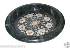 Green Marble Fruit Bowl Real Mother of Pearl Inlaid Dining Table Deco Gift H1358