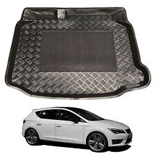 3pc LDPE boot liner tray rubber load mat bumper protector Seat Leon hatch 2013+