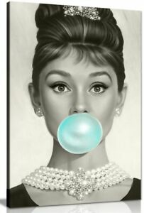 Audrey Hepburn Blue Bubblegum Canvas Wall Art Picture Print