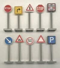 10 Lego Road Signs Lot: traffic city town street stop parking crossing LG poles