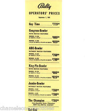 BALLY BINGO PINBALL MACHINE & ARCADE GAME PRICE LIST 9/1/55 GAY TIME HOT ROD