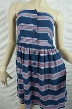 WISH blue striped strapless summer dress size S BNWT