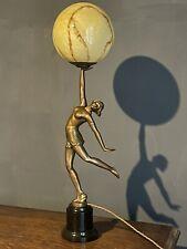 More details for art deco original  large spelter lady lamp 78cm