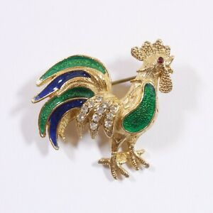 VTG Signed Florenza Rooster Chicken Bird Rhinestone Blue Green Enamel Brooch Pin