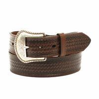 Nocona Men's Brown Leather Basketweave Belt