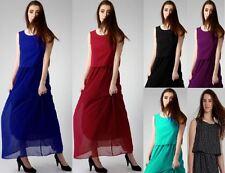 Womens Boho Chiffon Bohemian Lined Long Maxi Evening Sleeveless Bridesmaid Dress
