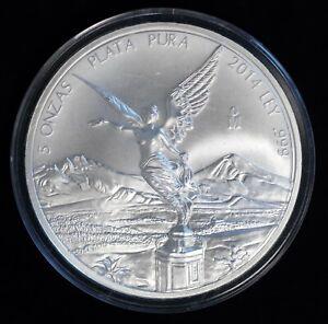 2014 Mexican Onzas Libertad 5 oz .999 Silver Coin
