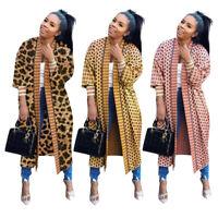 Fall New Women's Fashion Long Sleeves Printed Casual OL Long Cardigan Coat