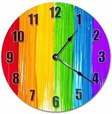 "10.5"" RAINBOW PAINT CLOCK - COLORFUL CLOCK - Large 10.5"" Wall Clock - 4007"
