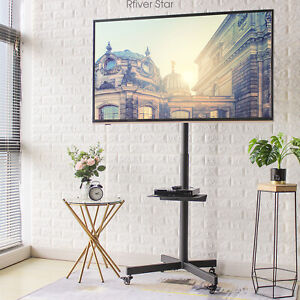 Mobile TV Cart Rolling Stand with Wheels  Swivel Mount for 32-65 Inch TVs