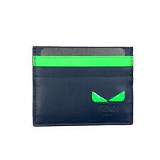 FENDI BAG BUGS EYE CARD HOLDER NAVY / GREEN