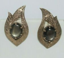 Vintage 18k Yellow Gold  Black Star Sapphire Cabochon Earrings 3.65 ct ~ 4.47gm