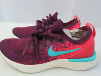 Nike Womens Epic React Flyknit Running Shoes Bordeaux Red AR5518-600 Size 5