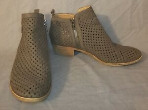 Lucky Brand size 7.5 Taupe Perforated Leather Stacked Heel Booties with Zipper