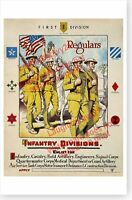 Staff And Pioneer Infantry A E F 1918 Us Army World War I Board Print Ebay