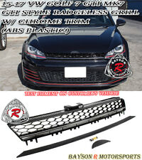 GTI-Style Badgeless Front Mesh Grill w/ Chrome Strip Fit 15-17 VW Golf 7 GTI MK7