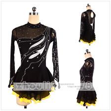 Girl Women latin Ice Skating Dress Competition Ice Figure Skating Dress black
