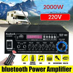2000W bluetooth Power Amplifier 2 Channel Car Home Stereo Audio AUX FM Radio AU