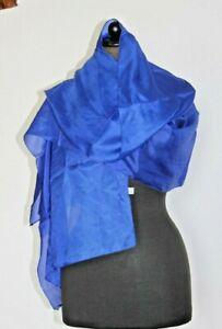 Schal Seidentuch Silk Scarf Tuch Blau uni Handarbeit-Indien