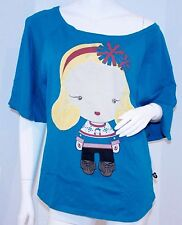 HARAJUKU LOVERS G Loose OVERSIZE Tee SHIRT Top BLUE Green Cotton XS Free Ship