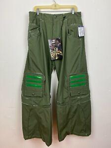 Macgear Mens Pants Green Cargo Wide Leg 90s Vintage skater punk rave Sz 34 x 32
