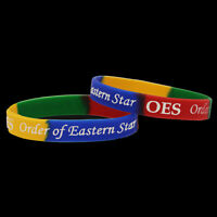 Two OES Eastern Star Silicon Multi-color Wrist Bands