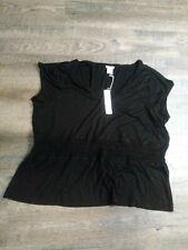 Cubavera Shirt Womens  Short Sleeve Black XXL 2XL NWT