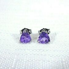 0.89 ct Natural Trillion Cut Purple Amethyst Solid 10k White Gold Stud Earrings
