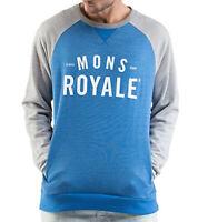 MONS ROYALE Pullover weicher Herren Rundhals-Sweater aus Merino-Wolle Blau/Grau