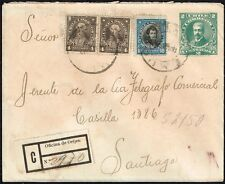 2989 CHILE REGISTERED PS STATIONERY COVER 1913 PRESIDENTES SERIE TEMUCO - SGO.