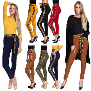 Women's High Waisted Pants Panther Stripes Belt Pockets Fitted Trousers OL602