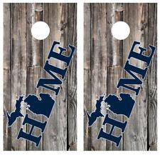 Michigan Home Barnwood Cornhole Board Wraps Free Lamination #3351