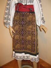 Vintage hand embroidered Romanian costume wrap skirt from Muscel - cotton