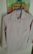 J. Crew Haberdashery Button Down Blouse Pink & White Stripes  Women's size s