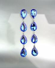 GLITZY Sapphire Blue Czech Crystals Chandelier Pageant Prom Bridal Earrings 4320