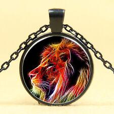 Wholesale Art Photo Cabochon Glass Black  Chain Pendant Necklace , Super lion