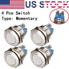 4 x Push Button Switch Light Momentary Waterproof 16mm 12V Brass nickel plating