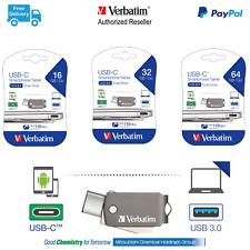 Verbatim USB C 3.1 Smartphone / Tablet Dual USB Flash Drive Memory 16 32 64gb