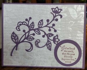 Easter card kit using Stampin Up/Papertrey, His Grace, shimmer, plum