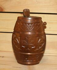 Vintage hand made folk carved wood brandy flask keg