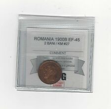 **1900B** Romania, 2 Bani, Coin Mart Graded**EF-45** KM #27