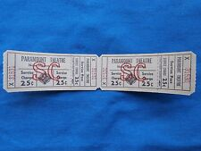Vintage Paramount Theatre 25 Cent Service Charge Tickets (Strip of 2) Movie/Cine