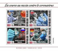 Togo Medical Stamps 2020 MNH Corona Vaccines Oxford University Pfizer 4v M/S