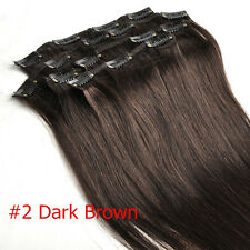 Clip in Real Human Hair Extensions Straight Black Brown Blonde 7pcs14''15''