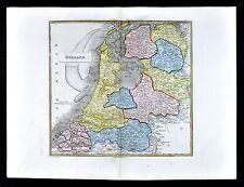 1839 Bell Map Holland Netherlands Amsterdam Zealand Utrecht Brabrant Zuyder Zee