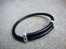 Black Leather Bracelet Adjustable Surfer Wristband Antique Silver  USA
