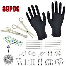 39pcs Professional Body Piercing Tool Kit Ear Nose Navel Nipple Needles Set UK