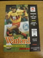 13/02/1993 Watford v West Ham United  . Bobfrankandelvis (aka Footy Progs) selle