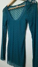 Free People Mesh Top S Teal Dotted Swiss Net Free People Scoop Neck Lace Shirt